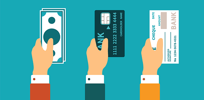 payment options - hands holding cash, a bank card and a cheque